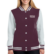 ADULT, Ladies Fleece Letterman Jacket, Devils_Tennis_Logo/White, Left Chest