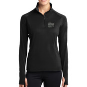 LADIES Sport Wick ® Stretch 1/2 Zip Pullover, PCP_Logo_Stacked/White