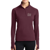 LADIES Sport Wick ® Stretch 1/2 Zip Pullover, SAMSON_Stacked_Logo/White