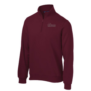 ADULT, 1/4 Zip Sweatshirt, Left Chest, USciences_Logo_White