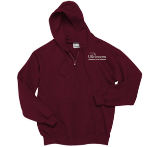 ADULT, Full Zip Sweatshirt, Left Chest, USciences_Logo_White