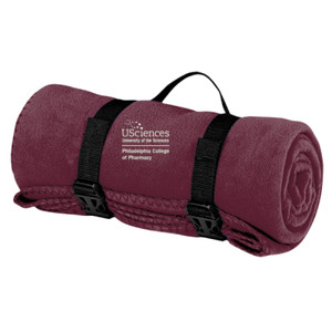 Fleece Blanket with Strap, PCP_USciences_Logo_Full Color
