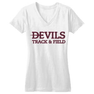 Juniors Concert V Neck Tee, Track and Field/Maroon