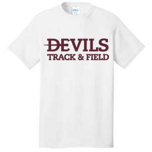 Adult T Shirt Short Sleeve, Track and Field/Maroon