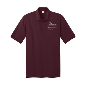 ADULT, Short Sleeve Jersey Knit Polo Shirt PCP_USciences_Stacked_White