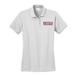 LADIES, Ring Spun Pique Polo, Devils_Volleyball/White