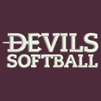 ADULT, 1/4 Zip Sweatshirt Devils_Softball_White Design
