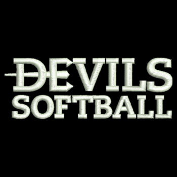 LADIES, 1/4 Zip Sweatshirt Devils_Softball_White   Design