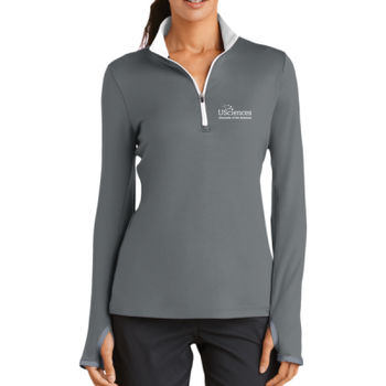Nike Golf Ladies Dri FIT Stretch 1/2 Zip Cover Up, USciences_White Thumbnail