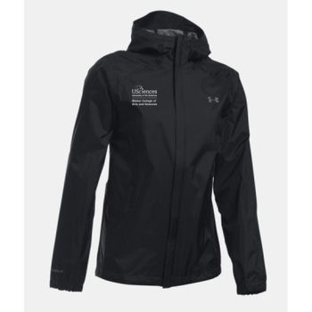 LADIES' UNDER ARMOR BORA RAIN JACKET, Misher_Stacked_White Thumbnail