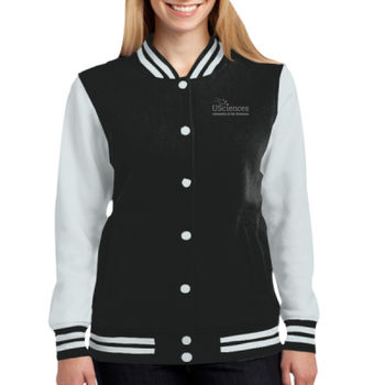 LADIES, Fleece Letterman Jacket, USciences_White/Left Chest  Thumbnail