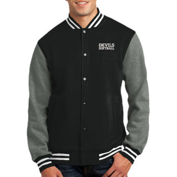 ADULT, Fleece Letterman Jacket, Devils_Baseball/White, Left Chest Thumbnail