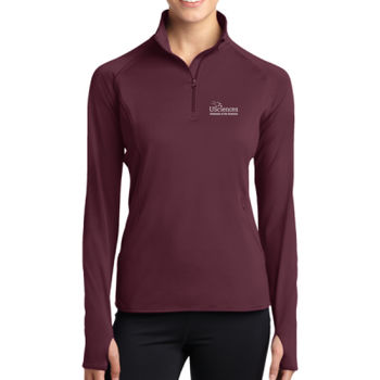 LADIES, Sport-Wick® Stretch 1/2-Zip Pullover USciences_Logo/White Thumbnail